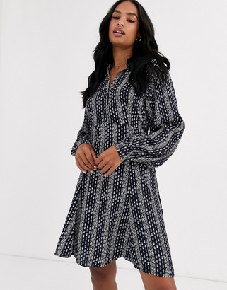 Y.A.S printed mini dress with volume sleeve