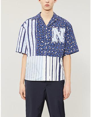 Neil Barrett Contrasting-panel woven shirt