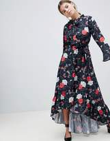 Yumi Floral Midi Dress With Flute Sleeve