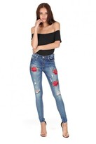 AX Paris Blue Embroided Flower Ripped Jeans