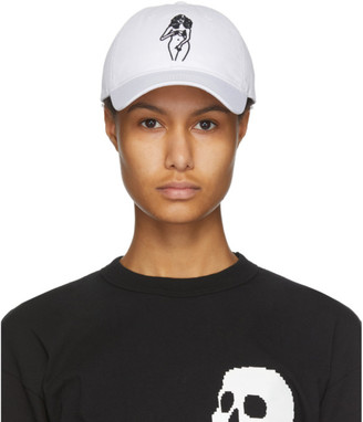 Palm Angels White Embroidered Woman Cap