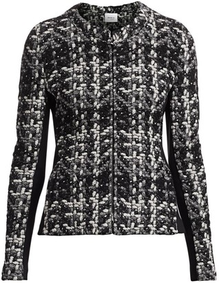Akris Punto Tweed Jersey Zip-Front Jacket