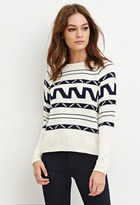 Forever 21 FOREVER 21+ Boxy Abstract Stripe Sweater