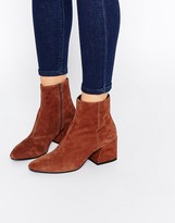 Vagabond Olivia Tan Suede Heeled Ankle Boots