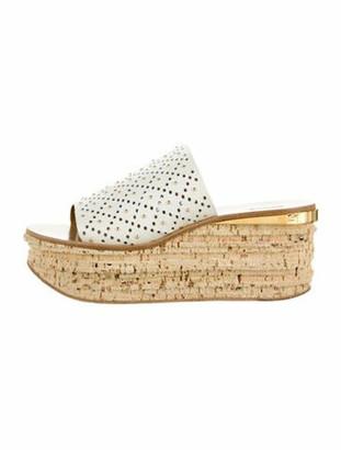 Chloé Leather Cutout Accent Sandals White
