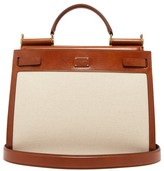 Dolce & Gabbana Sicily 62 Large Canvas And Leather Bag - Womens - Beige Multi