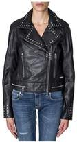 Calvin Klein Jeans Women's Black Leather Outerwear Jacket.