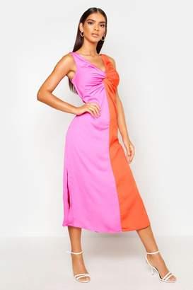 boohoo Satin Contrast Twist Front Dress