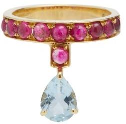 Dubini Theodora Rubellite, Aquamarine & 18kt Gold Ring - Red Multi