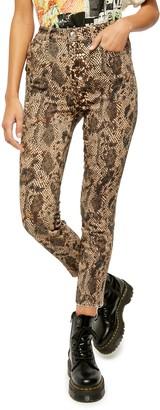 Free People High Waisted Snakeskin Print Denim Leggings