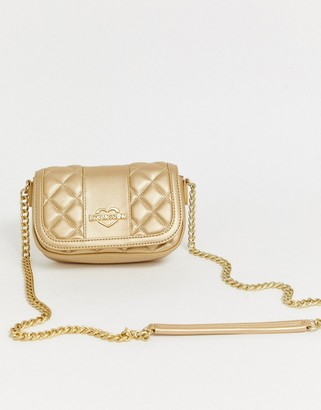 Love Moschino metallic quited faux leather cross body bag-Gold