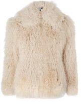 Topshop Cream Shearling Shaggy Jacket