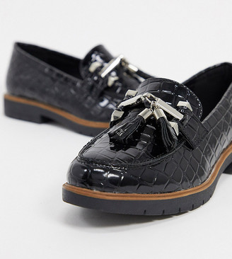 Truffle Collection wide fit flat metal trim loafers in black croc