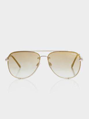Quay Womens High Key Rimless Sunglasses in Black Brown