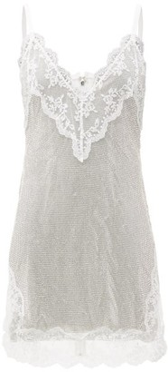 Christopher Kane Lace-trim Crystal-mesh Cami Mini Dress - White