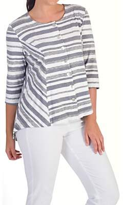 chesca Chesca Stripe Jersey Cardigan, White/Grey