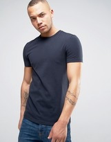 Asos Muscle Fit Crew Neck T-Shirt In Navy