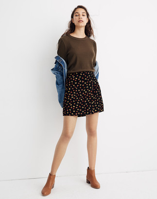 Madewell Side-Button A-Line Mini Skirt in Feline Floral
