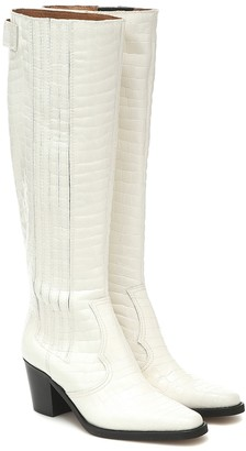 Ganni Western leather knee-high boots