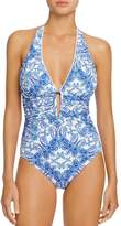 Bleu Rod Beattie Paisley Print Halter One Piece Swimsuit