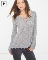 White House Black Market Petite Lace-Up Sweater