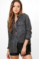 boohoo Faye Paint Splatter Oversize Denim Shirt