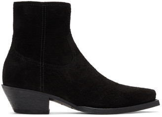 Saint Laurent Black Suede Lukas Zip Boots