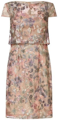 Adrianna Papell Metallic Embroidery Pop-Over Dress