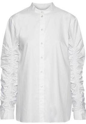 Tibi Ruched Cotton-poplin Shirt