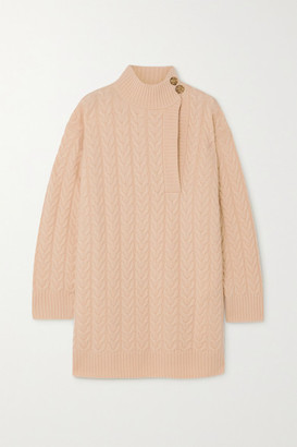 Max Mara Medea Cutout Cable-knit Wool And Cashmere-blend Turtleneck Sweater - Beige