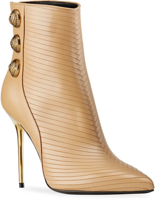 Balmain Sonia Cutout Leather Metallic-Heel Booties