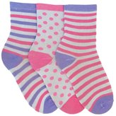 Universal Textiles Girls Assorted Polka Dot And Stripe Patterned Socks (Pack Of 3)