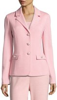 St. John Santana-Knit Three-Button Blazer, Pink