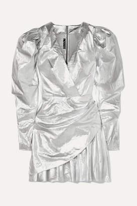 Rotate by Birger Christensen Lame Mini Dress - Silver