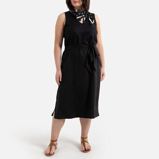 La Redoute Collections Plus Sleeveless Midi Dress with Tie-Waist