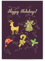 Minted happy holidays and swirls Self-Launch Cards