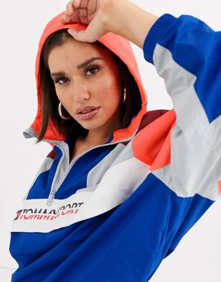 Tommy Hilfiger colour block insulation jacket with logo in multi colour-Blue