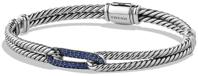 David Yurman Petite Pavé Labyrinth Mini Loop Bracelet with Blue Sapphires