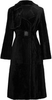 Yves Salomon Belted Whipstitched Leather-trimmed Shearling Coat - Black