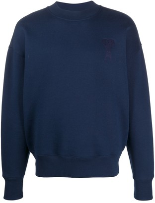 Ami boxy fit sweatshirt with de Coeur chain stitch embroidery