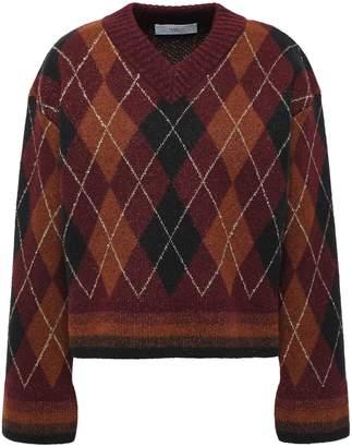 Pringle Metallic-trimmed Argyle Jacquard-knit Wool-blend Sweater