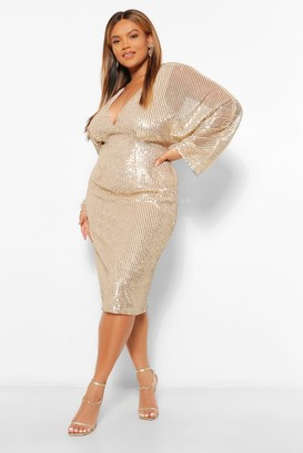 boohoo Plus Sequin Batwing Sleeve Midi Dress