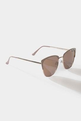 francesca's Lyric Cat Eye Sunglasses in Nude - Nude