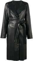 Yves Salomon contrast collar belted coat - women - Lamb Skin - 36