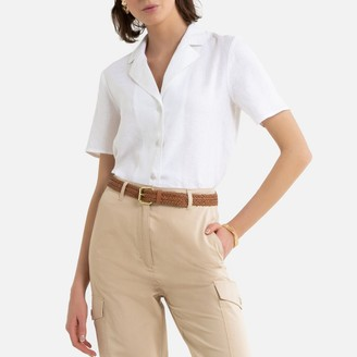 La Redoute Collections Linen Tailored-Collar Shirt with Short Sleeves