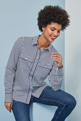 Next Womens Blue/White Striped Shirt - Blue