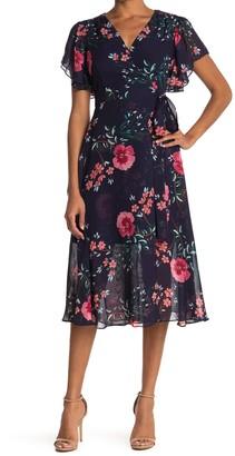 Vince Camuto Floral Flutter Sleeve Chiffon Midi Wrap Dress