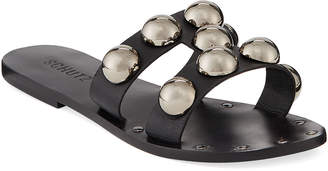 Schutz Benedita Flat Dome-Stud Leather Slide Sandals