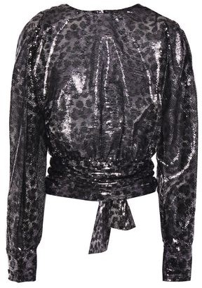 MSGM Open-back Gathered Bow-detailed Sequined Leopard-print Tulle Blouse