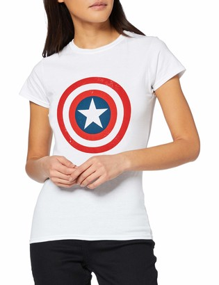 Marvel Women's Avengers Captain America Distressed Shield T-Shirt